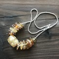 Handmade Glass Lampwork Beaded Necklace Gold Orange