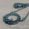 OOAK Woven Silver and Gemstone Spiral Necklace