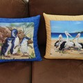 Australiana hand quilted  cushion cover featuring little penguins