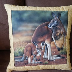Australiana hand quilted cushion cover featuring kangaroos