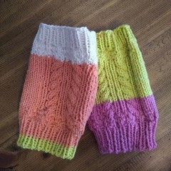 Odd Knit Cabled Fingerless Gloves