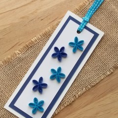 Quilled Bookmark Blue Forget Me Nots
