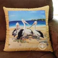 Australiana hand quilted cushion cover featuring pelicans