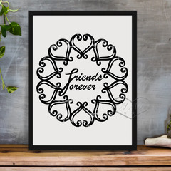 Printable Black Texture FRIENDS FOREVER A4 and A3 INSTANT DOWNLOAD