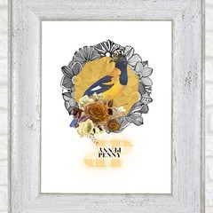 Penny Yellow Vintage Floral Bird Maggie Custom Name Digital Download