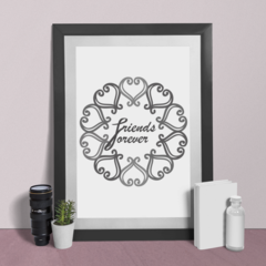 Printable Grey FRIENDS FOREVER A4 and A3 INSTANT DOWNLOAD