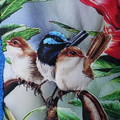 Australiana hand quilted cushion cover featuring blue wrens and waratah flower