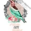 Lilly Pink Vintage Floral Bird Custom Name Digital Download