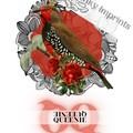 Queenie Red Vintage Floral Bird Custom Name Digital Download