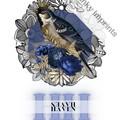 Haven Blue Vintage Floral Bird Custom Name Digital Download