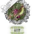 Belle Green Vintage Floral Bird Custom Name Digital Download