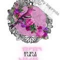 Tarah Magenta Vintage Floral Bird Custom Name Digital Download