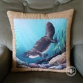 Australiana hand quilted  cushion cover featuring the platypus