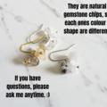 Gemstone cluster dangle earrings , Crystal Quartz White Quartz Rutilated Quartz