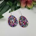 Egg Oval Rainbow Pop Dangle Earrings  - Glitter  - Hooks Hoops Studs