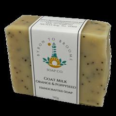 Goat Milk, Orange & Poppyseed Handcrafted Soap | 140g Bar - Palm Oil Free.