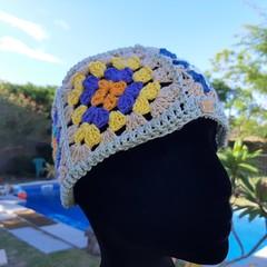 Retro Granny square hat. Crochet cap