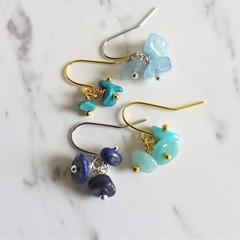 Gemstone cluster dangling earrings , Lapis Lazuli Turquoise Amazonite Aquamarine