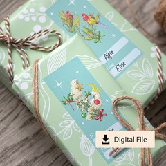 Australian Birds Christmas Gift Labels - Instant Digital Download