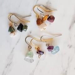 Dainty Minimalist gemstone chip short drop earrings , Agate Fluorite Mookaite