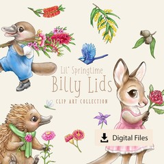 Lil' Springtime Billy Lids Clip Art - CREDIT REQUIRED LICENCE