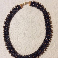 """Collar necklace. """"Driftwood"""" beaded necklace."""
