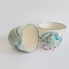 Set of two, handmade, porcelain, Japanese style, tea cups.