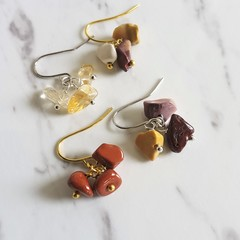 Dainty Gemstone chip cluster dangling earrings , Red Jasper Mookaite Citrine