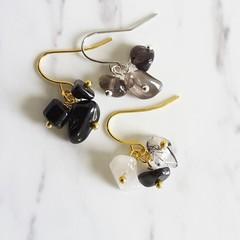 Gemstone cluster dangle earrings , Black Rutilated Quartz Obsidian Smoky Quartz