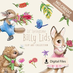Lil' Springtime Billy Lids Clip Art - NO CREDIT LICENCE