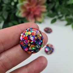 Rainbow Pop Mega Circle Glitter Resin Button Stud Earrings