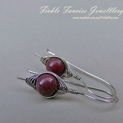 Silver Herringbone and Purple Mookaite Earrings