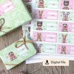 Australian Animal Christmas Gift Labels - Instant Digital Download