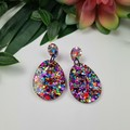 Egg Oval Rainbow Pop Dangle Earrings  - Glitter  - Hooks Hoops Studs