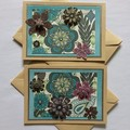Two Blank Cards with Art Nouveau 3D Flowers on Turquoise