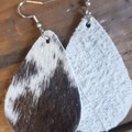 Rustic Teardrop, Genuine Cowhide Leather Earrings, Brown/White