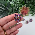 Rainbow Pop Flower Power Glitter Resin Button Stud Earrings