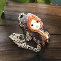 Handmade Glass Lampwork Doll Pendant Necklace