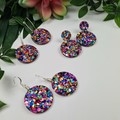Circle Rainbow Pop Dangle Earrings  - Glitter  - Hooks Hoops Studs