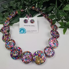 Rainbow Pop Sparkle Glitter  - Button Necklace - Button Earrings - Jewellery