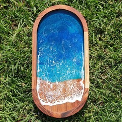 Beach Resin Art Acacia Serving Tray