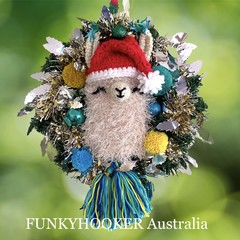 Festive Llama Wreath Handmade Home Decoration