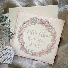 Greeting Card Floral Wreath Soft Pink - Personalised Name - Newborn, Christening