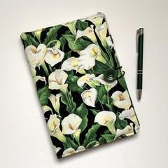 Calla Lilies A5 Fabric Notebook Cover / Compendium