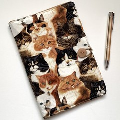 Cats  A5 Fabric Notebook Cover / Compendium