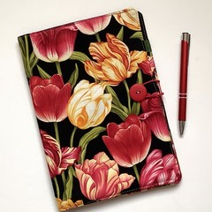 Red and yellow tulips A5 Fabric Notebook Cover /Compendium