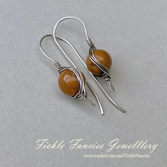 Silver Herringbone and Yellow Mookaite Earrings