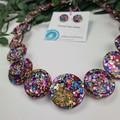 Rainbow Pop Sparkle Glitter  - Button Necklace - Button Earrings - Jewellery