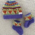 Purple Fox  Beanie and Matching Booties - up to 4 months - Hand knitted