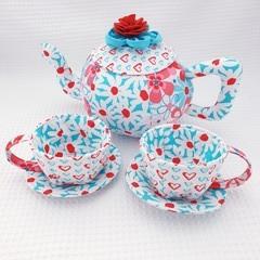 Aqua Daisy Tea Set